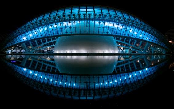 Wallpaper Hemispheric, Valencia, Spain, night, lights, cinema, planetarium, water reflection