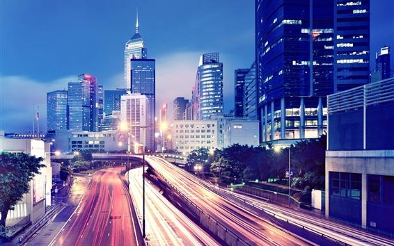 Wallpaper Hong Kong, night, lights, skyscrapers, roads, traffic