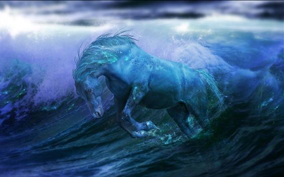 Обои Лошадь в воде, креативный дизайн