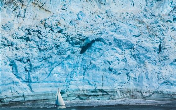 Papéis de Parede Glaciar Hubbard, barcos, neve, gelo, Alasca, EUA