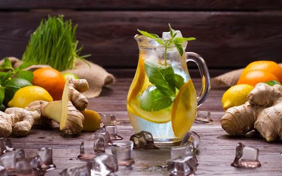 Wallpaper Ice cube, lemon, drinks, bottle, ginger