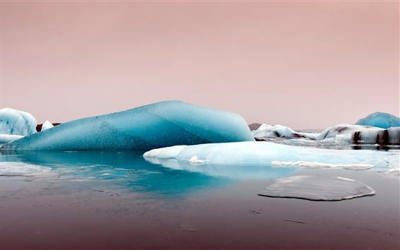 Обои Лед, море, сумерки, зима