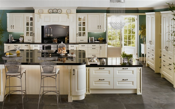 Fond d'écran Intérieur, cuisine, chandelier, chaises, armoires