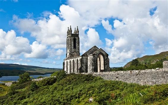 Fond d'écran Irlande, église, rivière, nuages