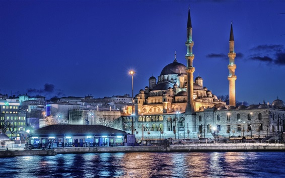 Fondos de pantalla Estambul, Turquía, Nueva mezquita, minarete, noche, luces