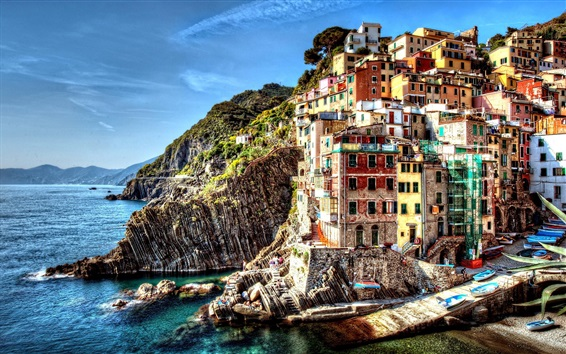 Wallpaper Italy, Cinque Terre, beautiful village, sea, houses, rocks