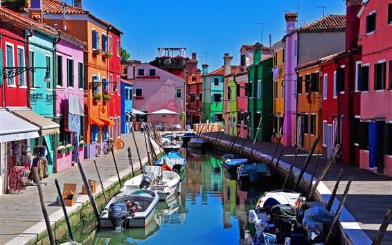 Wallpaper Italy, Venice, Burano island, boats, river