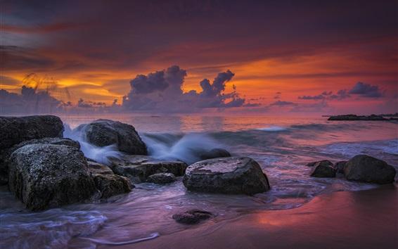 Wallpaper Khao Lak Beach, sea, stones, sunset, Thailand