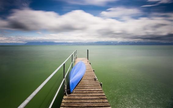 Fondos de pantalla Lago, muelle, barco, nubes