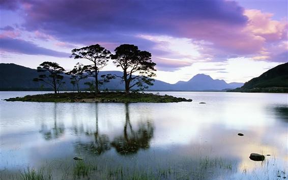 Wallpaper Lake, island, trees, clouds, dusk
