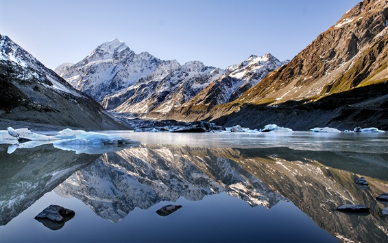 Wallpaper Lake, mountains, snow, water reflection