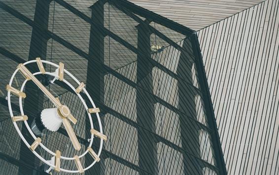 Wallpaper Large clock, glass wall, street