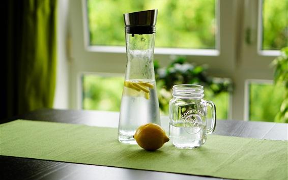 Fond d'écran Citron, eau, boissons, bouteille, fenêtre
