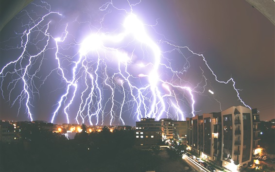 Fondos de pantalla Relámpago, tormenta, ciudad, noche