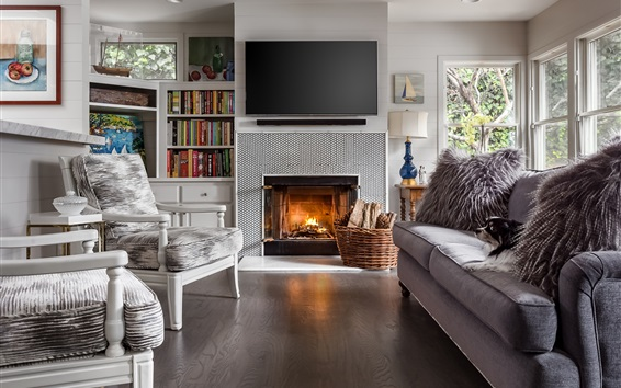 Wallpaper Living room, fireplace, sofa, chair, books, television