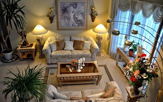 Обои Гостиная, диван, лампа, стол, окно