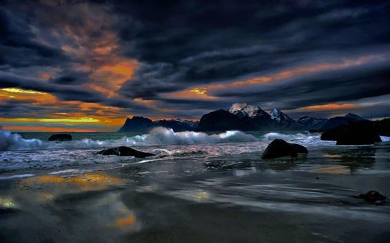 Wallpaper Lofoten Islands, clouds, sea, evening, Norway