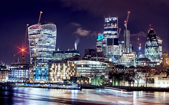 Wallpaper London, United Kingdom, beautiful night, city, skyscrapers, lights