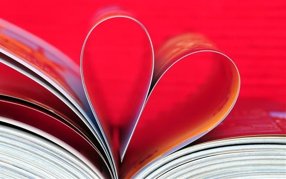 Wallpaper Love heart, book, paper