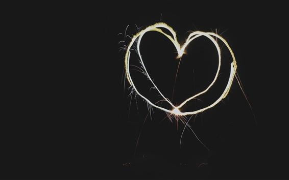 Fond d'écran Love heart, light, feux d'artifice, fond noir