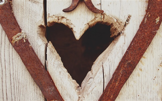 Papéis de Parede Coração de amor, placa de madeira