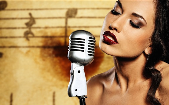 Wallpaper Makeup girl, lips, microphone