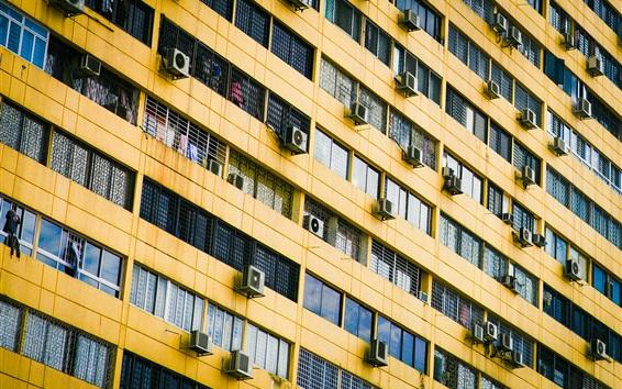 Papéis de Parede Muitos condicionadores de ar, parede, construção, janelas