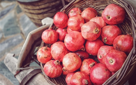 Wallpaper Many red ripe pomegranate, fruit