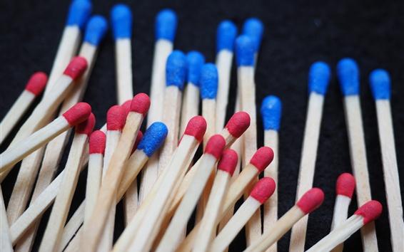 Wallpaper Matchsticks, red and blue