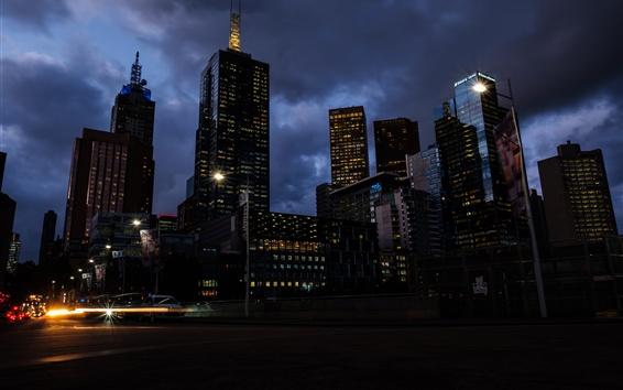 Обои Мельбурн, Австралия, небоскребы, городская ночь, огни, облака