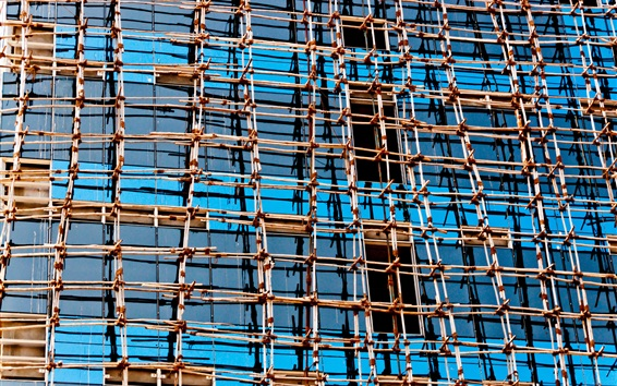 Papéis de Parede Estrutura de malha, edifícios, vidro