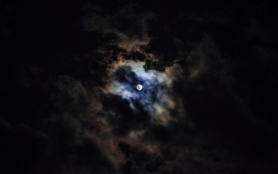Обои Луна, облака, небо, ночь