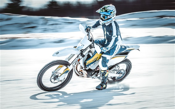 Wallpaper Motorcyclist, speed, motorcycle race, snow