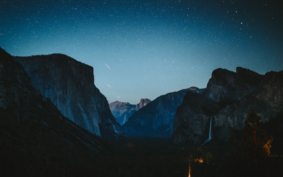 Обои Горы, небо, звездный, водопад, ночь