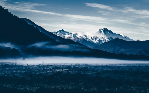 Fond d'écran Montagnes, neige, aurore, brouillard