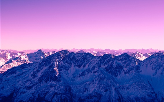 Wallpaper Mountains, snow, purple sky