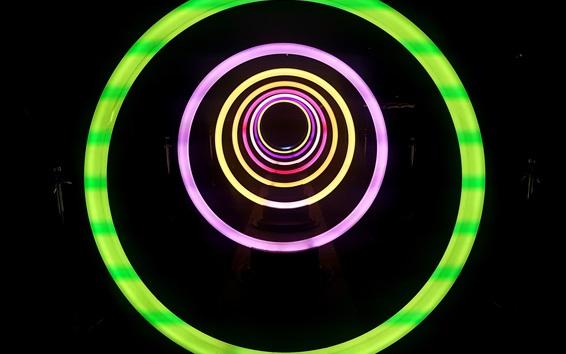 Wallpaper Neon lights, circles, black background