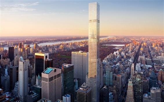 Wallpaper New York City, skyscraper, park, river, USA