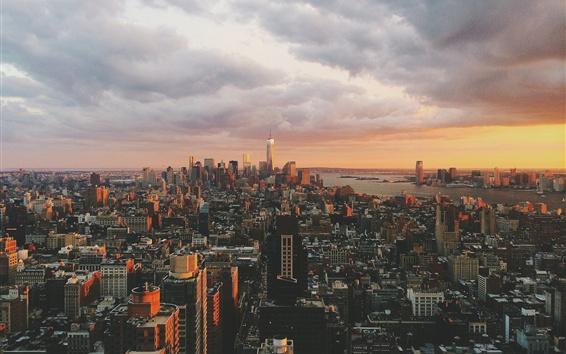 壁纸 纽约,曼哈顿,OWTC,美国,摩天大楼,黄昏