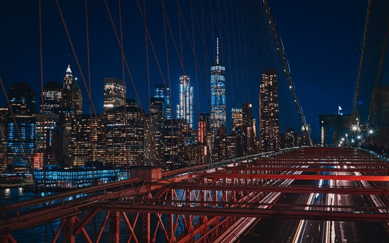 Wallpaper New York, USA, Brooklyn, bridge, night, lights