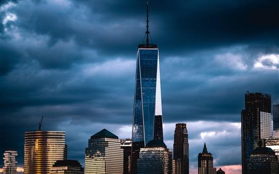 Papéis de Parede Nova Iorque, EUA, arranha-céus, luzes, crepúsculo, nuvens