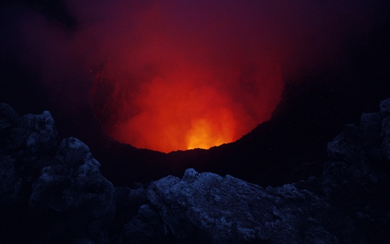 배경 화면 니카라과, Masaya 화산, 용암
