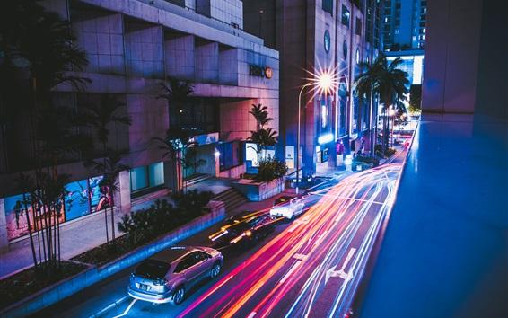 Papéis de Parede Noite, estrada, rua, carros, luz, cidade