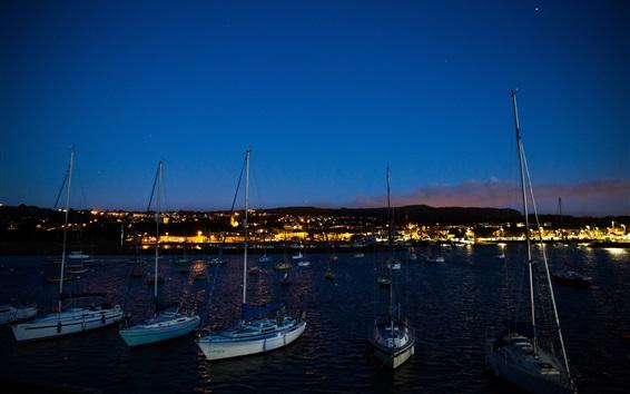 Wallpaper Night, sea, dock, boats