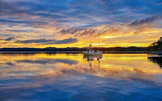 Fondos de pantalla Noruega, Rogaland, pescador, barco de pescador, mar, mañana, salida del sol