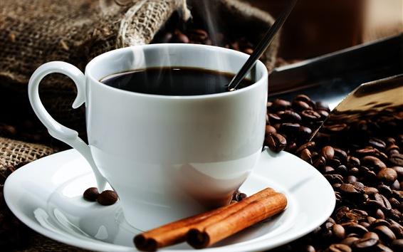Papéis de Parede Um copo de café, grãos de café, canela
