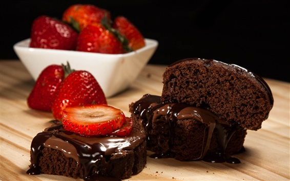 Wallpaper Pieces of chocolate cake, strawberry, dessert