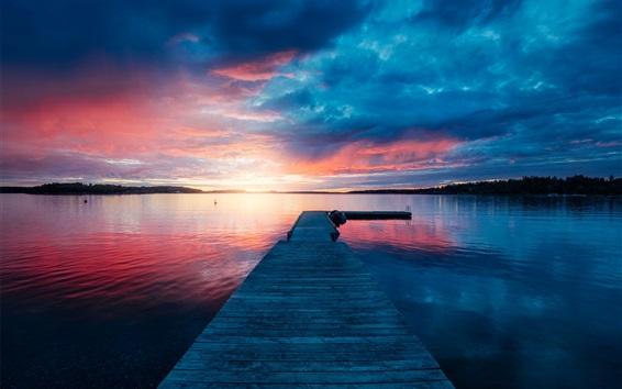 Wallpaper Pier, bridge, lake, sunset