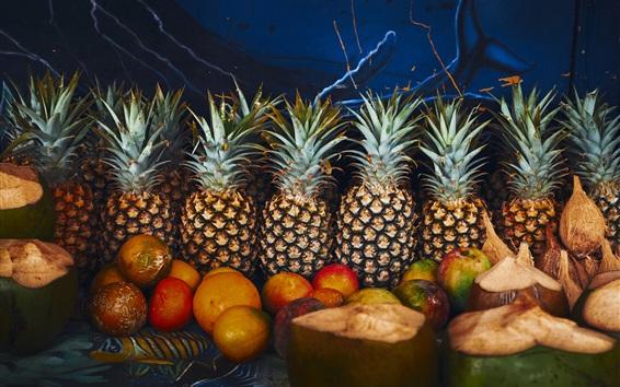 Fond d'écran Ananas, oranges, fruits