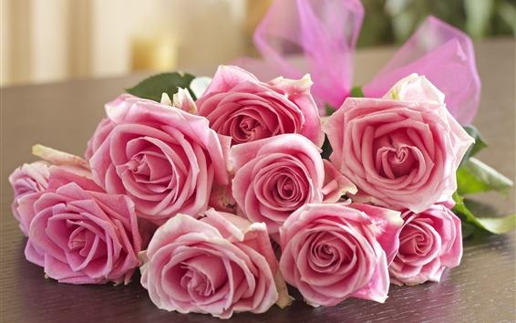 Обои Розовые розы, букет, цветы